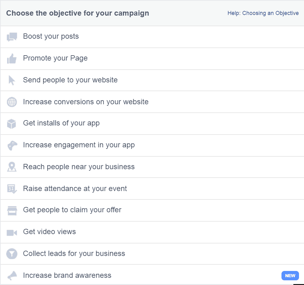 facebook ad objectives